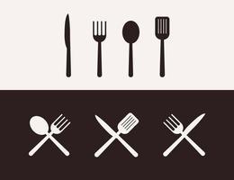 ilustração de cozinha de utensílios de silhueta, conjunto de ferramentas de cozinha vetor