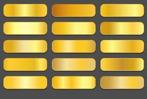 gradientes de ouro amarelo. gradientes metálicos dourados vetor