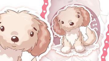 cão animal de personagem de desenho animado - adesivo vetor
