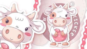 bonito personagem de desenho animado animal vaca com coração - adesivo vetor