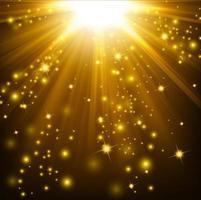 luzes douradas brilhando com brilhos, ilustração vetorial vetor