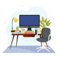 conceito de trabalho de escritório em casa vetor