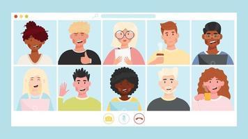 avatares de usuário de videoconferência de reunião on-line vetor