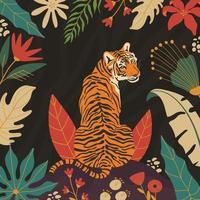 pôster de tigre na selva vetor