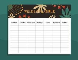 conceito de planejador semanal para impressão vetor