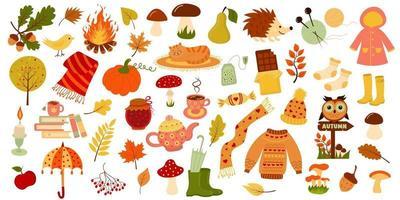 conjunto de outono. Olá outono, coleção de ícones do outono. vetor