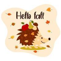 Olá, outono com ouriço fofo, folhas de outono, maçã, pêra, cogumelo. vetor