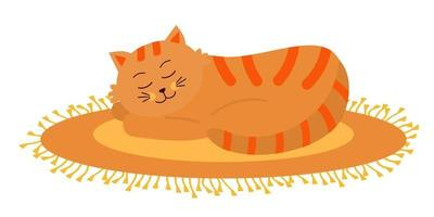 lindo gato laranja dormindo no tapete oval com franjas. vetor
