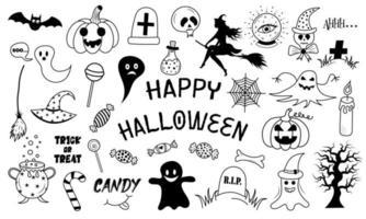 feliz dia das bruxas um conjunto de elementos em estilo doodle. vetor