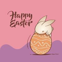 Coelhinho da páscoa e ovo de páscoa vetor