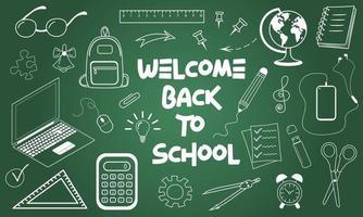 bem-vindo de volta à escola, texto escrito a giz e ícones educacionais vetor