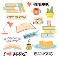 conjunto de livros, leitura e coisas aconchegantes. adoro ler, dia mundial dos livros. vetor
