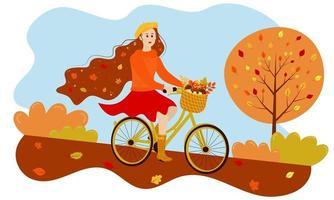 garota outono anda de bicicleta no parque. vetor