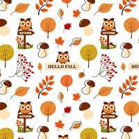 padrão sem emenda de folhas de outono, cogumelos, coruja, rowan e árvore. vetor