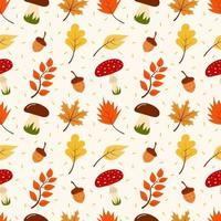 padrão sem emenda de folhas de outono, cogumelos e bolotas. vetor