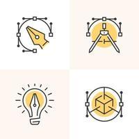 logotipos de contorno simples para designers. vetor