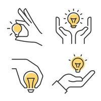 lâmpada com conjunto de ícones de mão humana. vetor