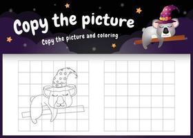 copie o jogo de crianças e a página para colorir com um lindo coala vetor