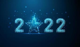 cartão abstrato feliz ano novo de 2022 com estrela azul vetor