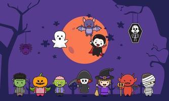 definir coleção de ilustração de fundo de celebração de halloween vetor
