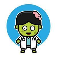 bonito médico zombie halloween cartoon ilustração em vetor. vetor