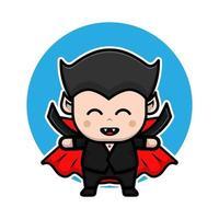 ilustração do ícone dos desenhos animados de halloween bonito drácula. vetor