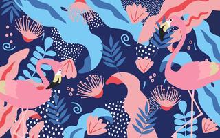 Selva tropical, folhas, flores, cartaz, fundo, flamingos vetor