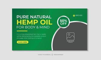 óleo de cânhamo ou óleo de cbd vídeo miniatura e design de modelo de banner da web vetor