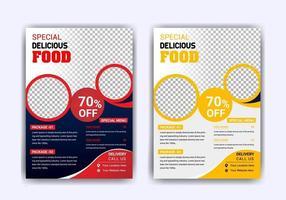 modelo de panfleto de comida de restaurante com hambúrguer vetor