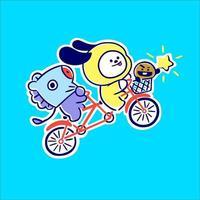 chimmy e amigo jogam bicicleta vetor