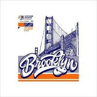 bridge brooklyn autêntico lugar vintage simples vetor
