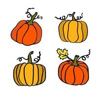 ilustração de abóbora de outono definida para o dia das bruxas vetor