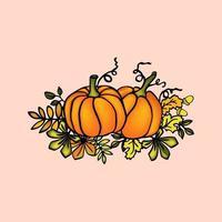 ilustração de abóbora de outono com folhas para feriado de outono vetor