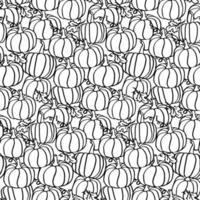 padrão sem emenda de abóbora de outono em preto e branco para colorir estilo de canto vetor
