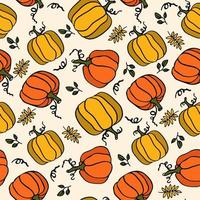 padrão sem emenda de abóbora laranja e amarelo estilo cantoon vetor