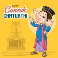 saudações ganesha chadurthi com fundo do templo vetor