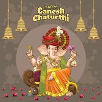Saudações ganesha chadurthi com design de sino e elementos espirituais vetor