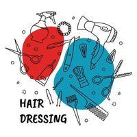 ferramentas e equipamentos para cabeleireiro e barbearia vetor