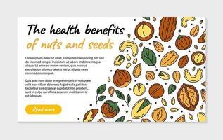 página de destino ou folheto de vetor de nozes e sementes
