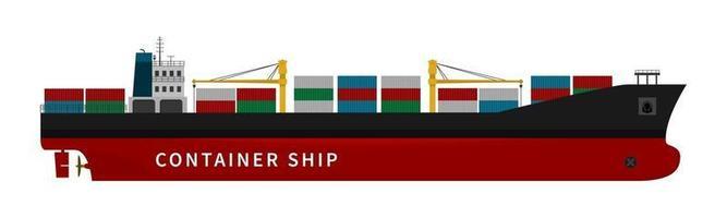 navio de carga de contêineres vermelhos em fundo branco vetor
