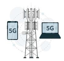 Estações base de mastro 5g com smartphone e laptop vetor