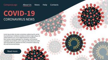 coronavírus vermelho covid-19 no banner da página de destino vetor