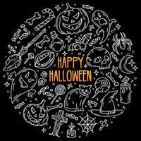halloween black conjunto de ícones vetoriais em estilo doodle, símbolos mágicos vetor