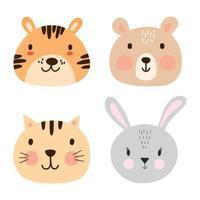 conjunto de rostos de animais fofos. doce tigre, urso, gato, pacote de retrato de coelho. vetor