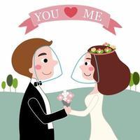 noiva e noivo amam cobiçoso usando protetores faciais em casamento no jardim vetor