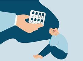 uma mão amiga dá sedativos a uma mulher para se livrar da depressão. vetor