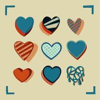corações coloridos vintage desenhados à mão vetor