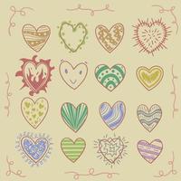 corações coloridos antigos desenhados à mão vetor