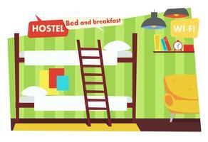 Quarto no Hostel. Cama e café da manhã. Ilustração vetorial plana