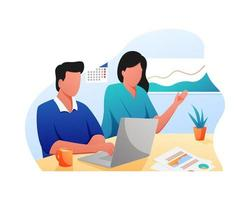 ilustração plana de homem e mulher trabalhando juntos se comunicam vetor